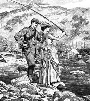 Angling romance. Victorian illustration of a romantic young couple fly fishing in a moorland landscape. Standing on a rock at the edge of a stream, the young woman wields her rod, wearing a smart dress and a broad-brimmed hat. The young man wears a deerstalker hat, a norfolk jacket, and plus-fours, and he has a fishing basket slung over his back. Download high quality jpeg for just £5. Perfect for framing, logos, letterheads, and greetings cards.