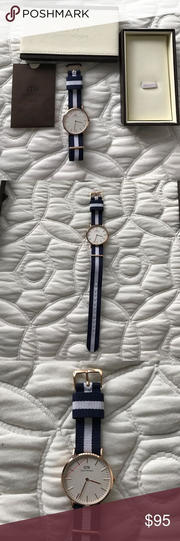watch Daniel Wellington watch. Never worn. Navy blue and white strap with gold detailing. Daniel Wellington Accessories Watches