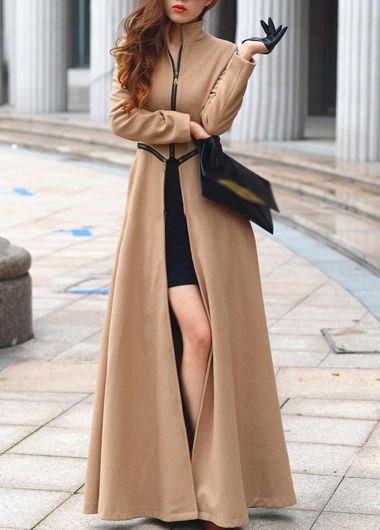 Fine Quality Mandarin Collar Long Sleeve Maxi Coat with Zipper