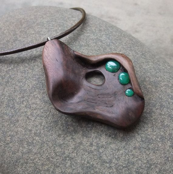 Wood stone pendant necklace Australian by NaturesArtMelbourne,