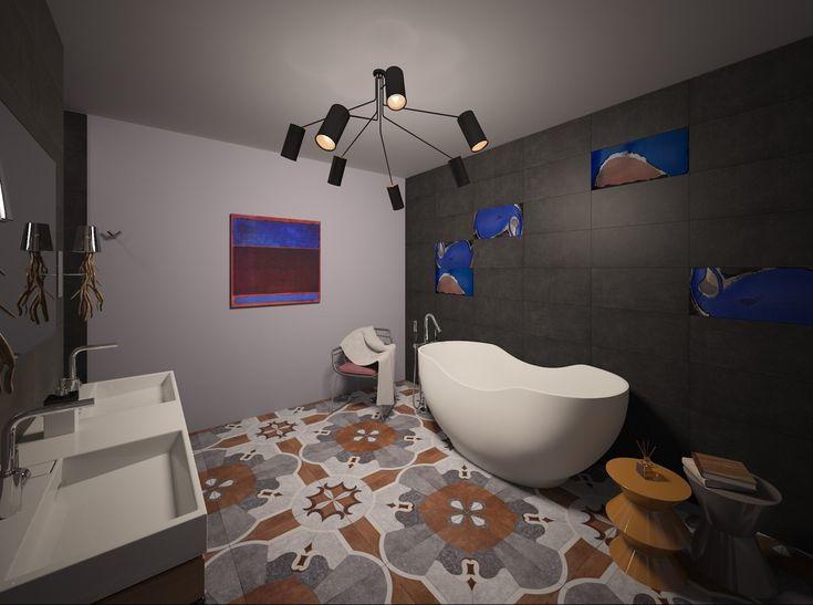 Кобальт и охра - Ванная комната 3D – Комфорт & Стиль | PINWIN - конкурсы для…
