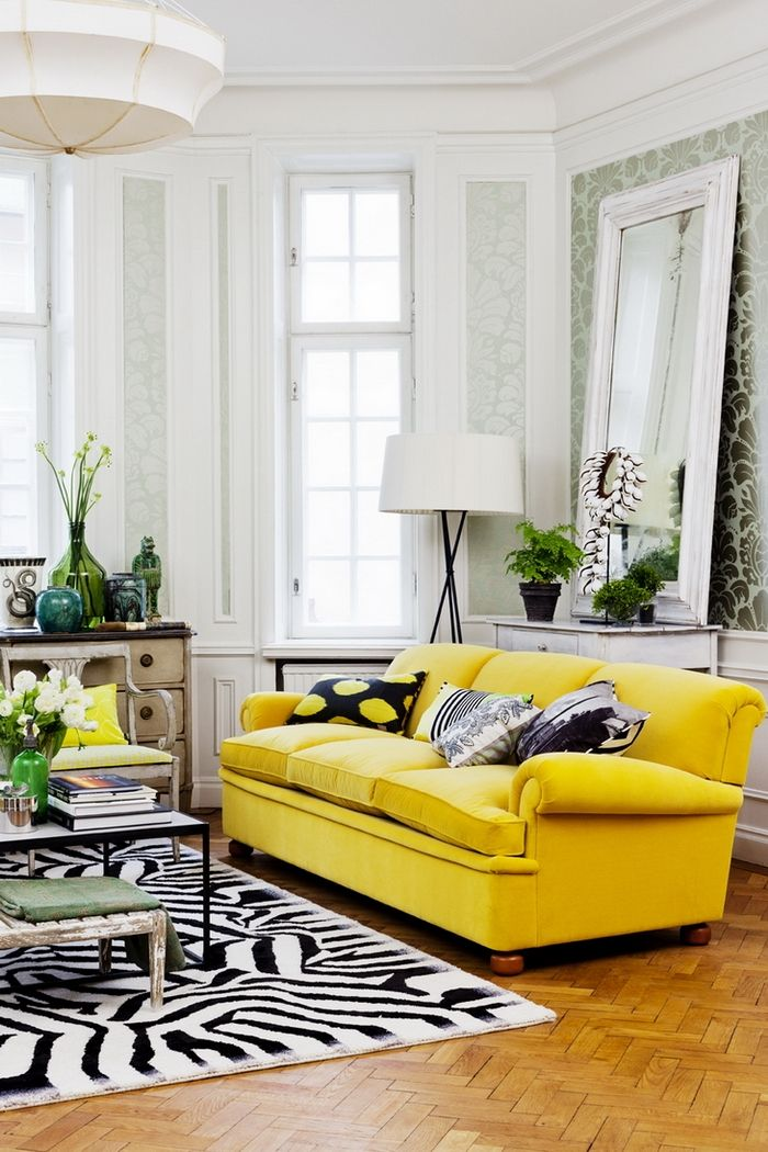 I Love This Bright Yellow Sofa Not A Fan Of The Zebra Rug Its Bit Too Much With But