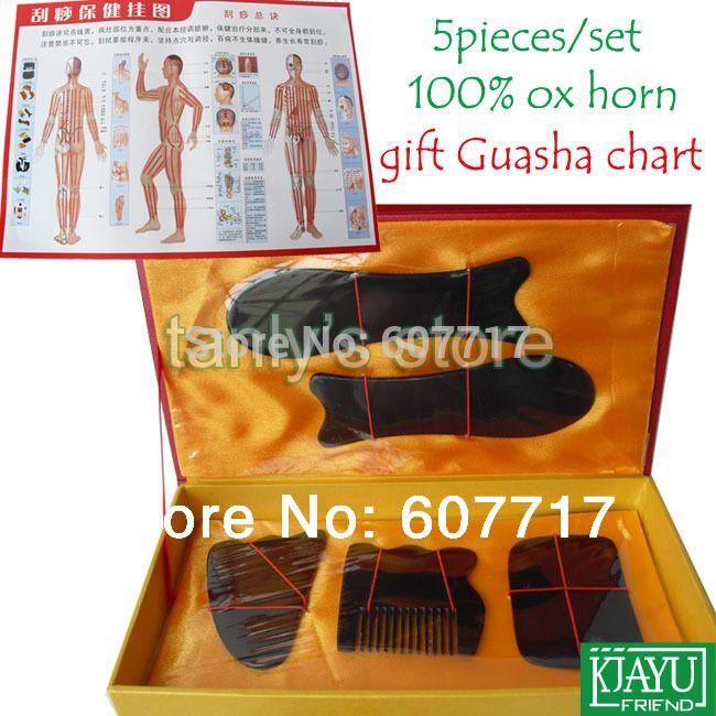 Хорошее качество! (Подарок Guasha график) WholesaleTraditional Иглоукалывание Массаж Инструмент Гуа Ша 100% буффало хорн 5 шт./компл.
