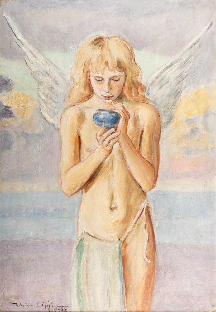 WLASTIMIL HOFMAN (1881 - 1970)  ANIOŁ, 1923   olej, tektura / 98 x 68 cm