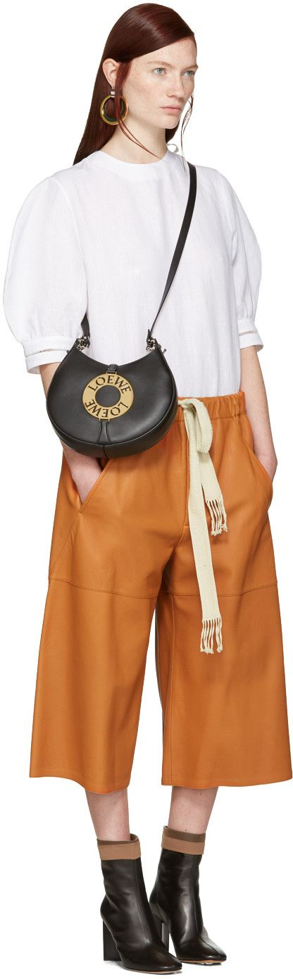 Loewe - Orange Leather Shorts