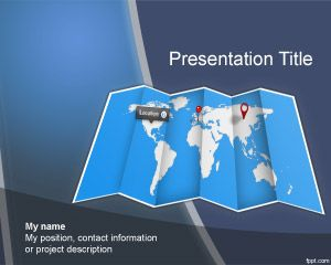 Worldmap PowerPoint template, #free world map background for e-learning presentations in Microsoft PowerPoint... can embed Google Maps
