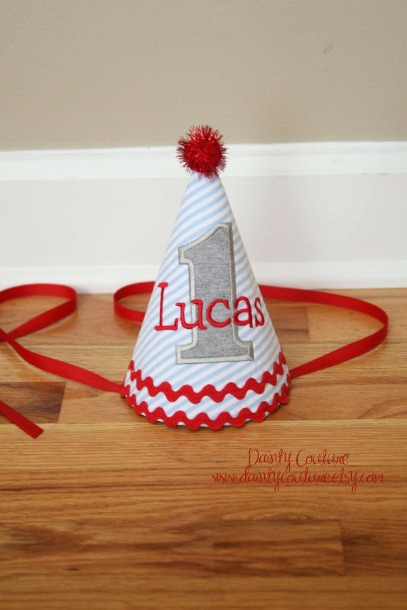 First Birthday Boy Hat  Blue stripes red and grey by DaintyCouture, $25.00