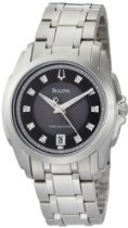 Bulova Men's 96D110 Precisionist Longwood Diamond Black Dial Bracelet Watch