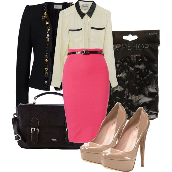 Pink pencil skirt with black and winter white
