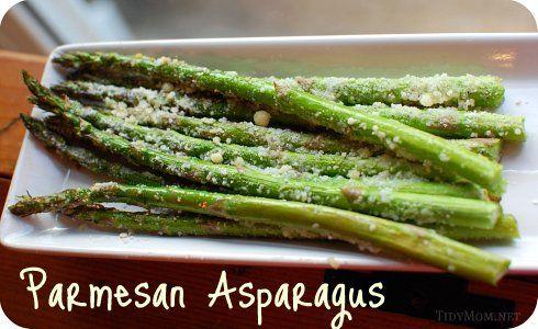 Roasted Parmesan Asparagus     Asparagus     Olive oil     Salt and pepper     Parmesan cheese