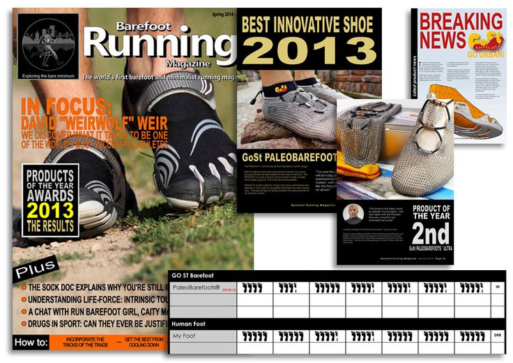 "Awards 2013! In the spring issue of the ""Barefoot Running Magazine"" in England, which is published by BarefootrunningUK GoSt-Barefoots and PaleoBarefoots® have won a couple of awards! See more at: http://issuu.com/davidrobinson0/docs/barefoot_running_magazine_issue_11_  #chainmailshoes #paleos #chainmailshoes #barefootrunning #naturalrunning #barefootshoe #running #minimalist #minimalistshoe #trail #trailrunning #outdoor #health #style #lifestyle #awards #design #future"