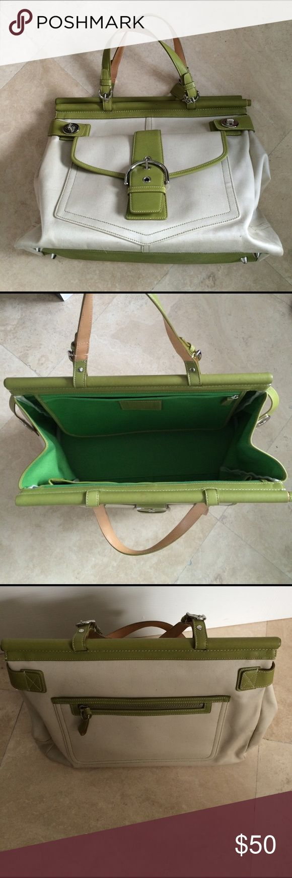 Coach Khaki Canvas and Green Leather Handbag This is a handle carry bag. It is quite large, you can put school notebooks and at least one textbook inside. Used once. Coach Bags Totes