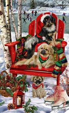 """New for 2014! Tibetan Spaniel Christmas Holiday Cards are 8 1/2"""" x 5 1/2"""" and come in packages of 12 cards. One design per package. All designs include envelopes, your personal message, and choice of greeting. Select the inside greeting of your choice from the menu below.Add your custom personal message to the Comments box during checkout."""