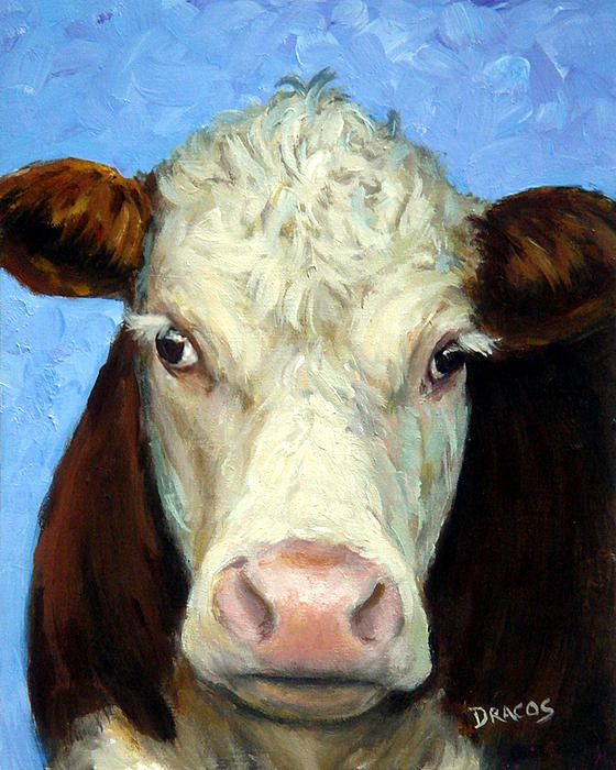 Hereford cow painting