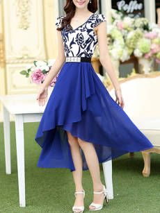 V-Neck Printed Chiffon High-Low Maxi Dress