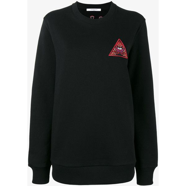 Givenchy pyramid eye sweatshirt (€660) via Polyvore featuring tops, hoodies, sweatshirts, embroidered long sleeve top, crewneck sweatshirts, crew-neck sweatshirts, givenchy sweatshirt en givenchy