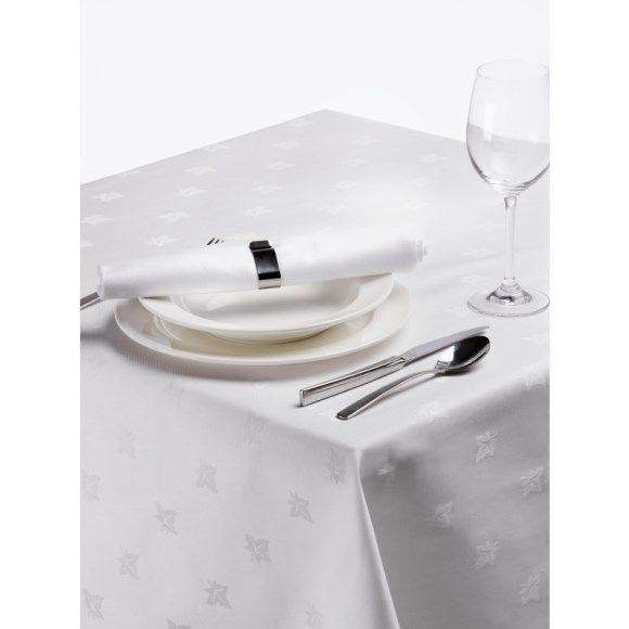 Rond tafelkleed 170cm met ingeweven klimopblad, wit