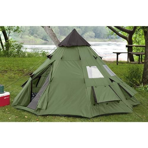 TeePee Style Waterproof 10 x 10 Camping Tent Sleeps 6 New heavy-duty, lightweight, waterproofed.