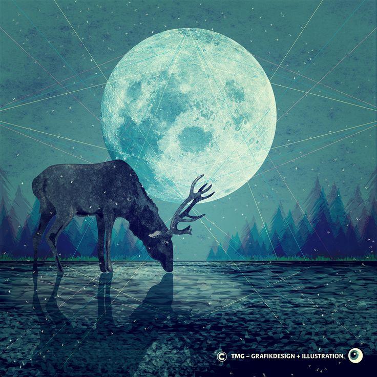 Vector Illustration / Deer / Winter