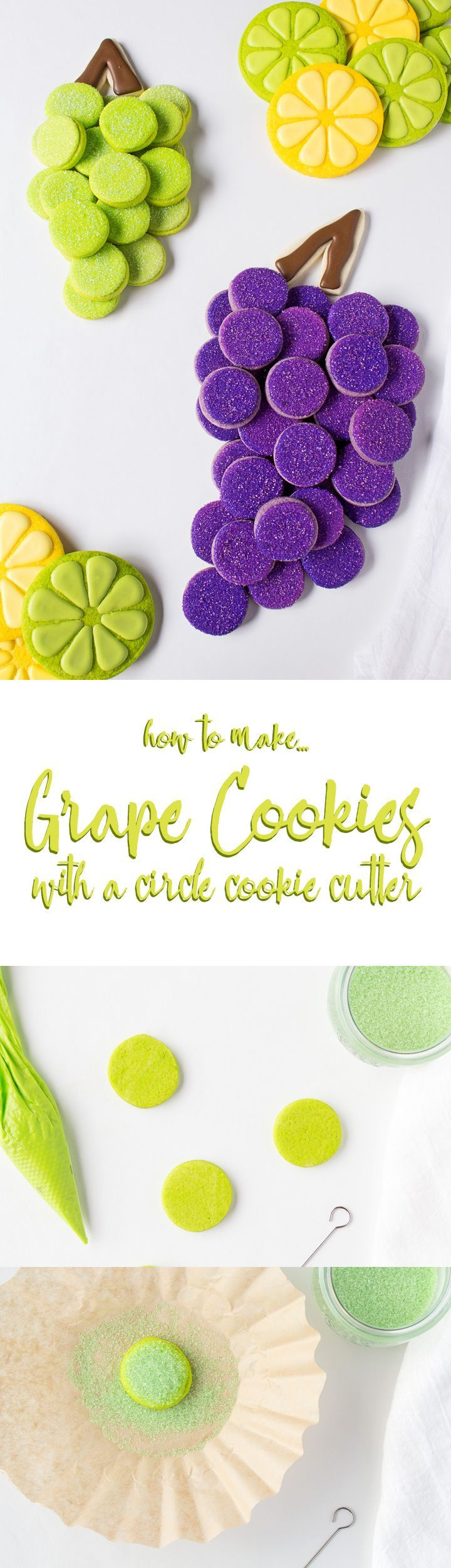 How to Make Grape Cookies with a circle cookie cutter. #cookies #cookie_art