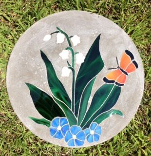 "Lilly of the Valley 14"" Stained Glass Garden Stone"