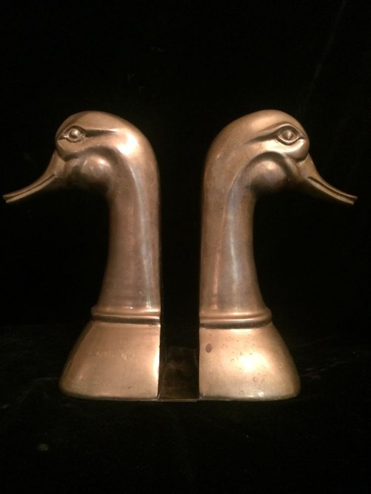 Vintage Large Heavy Brass Duck Bookends