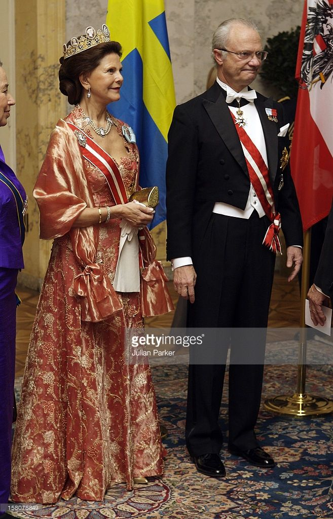 King Carl Gustaf And Queen Silvia Of Sweden Attend A State Dinner At The Hofburg In Vienna, Hosted By The Federal President Heinz Fischer And His Wife Mrs Margit Fischer On The First Day Of A Three Day Visit To Austria.