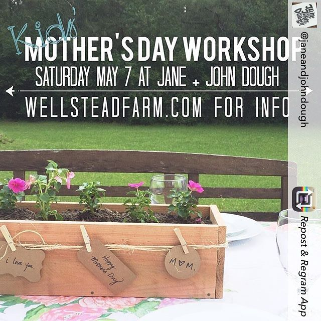 #houstonmoms #motheringnature #houstontx  Mother's Day is right around the corner..... Repost from @janeandjohndough using @RepostRegramApp - Hey...you...guys!!! Check this oUT!!! Mark YO' calander!!! ........ Kids' Mother's Day Workshop coming up the day before Mother's Day! Come build and plant flowers in a flower box for Mom! Pastry and coffee voucher included so mom can have a treat while the kids build something special. Info and online signup discount at wellsteadfarm.com…
