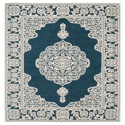 Dark Blue Ivory Abstract Woven Square Area Rug 6 X6