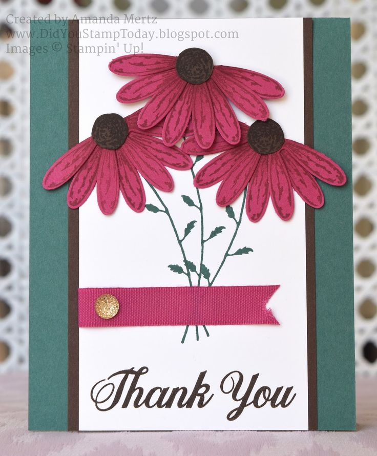 Did You Stamp Today?: Berry Burst ConeFlower Thank You - Stampin' Up! Daisy Delight