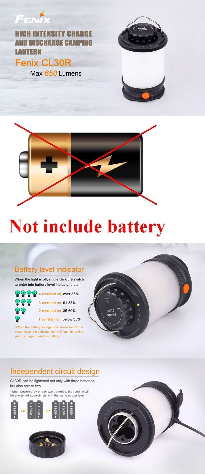 Lanterns 168867: New Fenix Cl30r 650 Lumens Led Camping Lantern Light Usb Power Bank (No Battery) -> BUY IT NOW ONLY: $89.99 on eBay!
