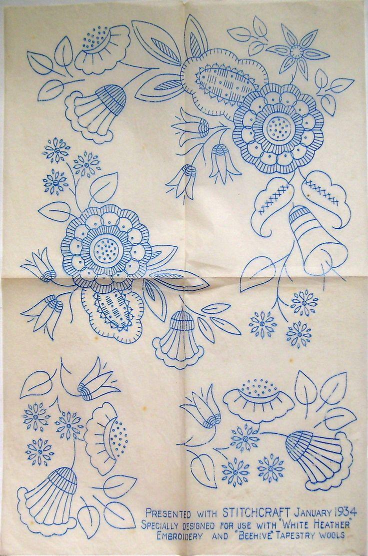 Vintage Stitchcraft embroidery transfer - large sheet Jacobean ornate flowers | eBay