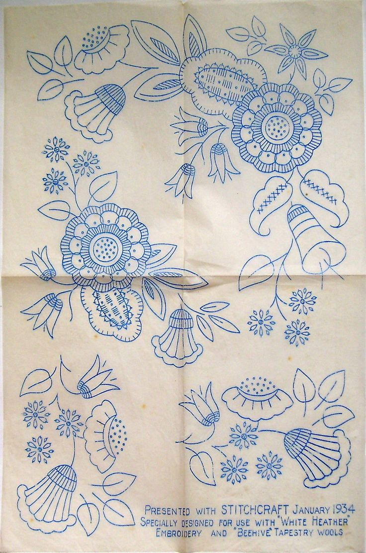 Vintage Stitchcraft embroidery transfer - large sheet Jacobean ornate flowers | eBay