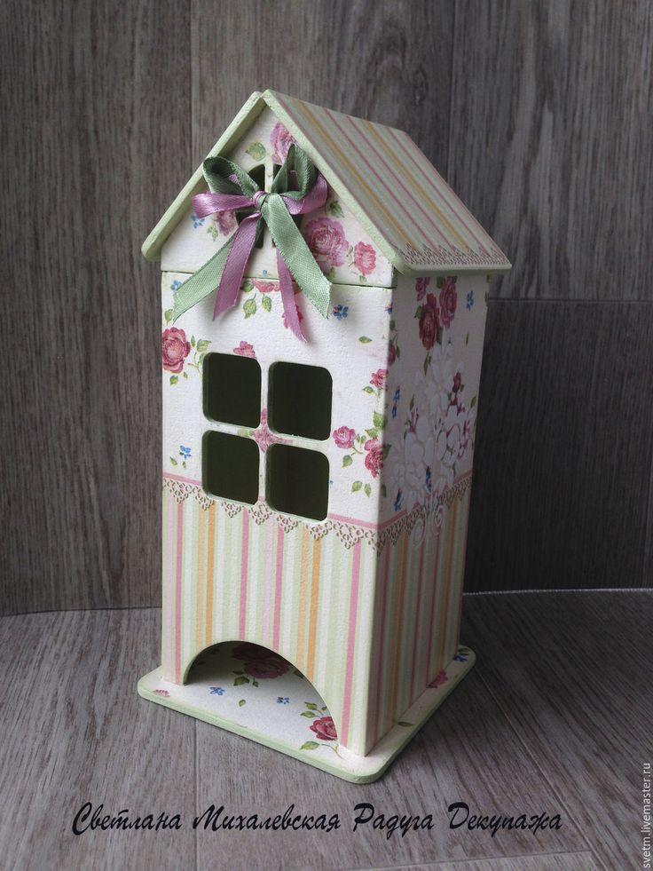 Купить чайный домик для хранения чая Розовые полоски декупаж дерево - бледно-розовый