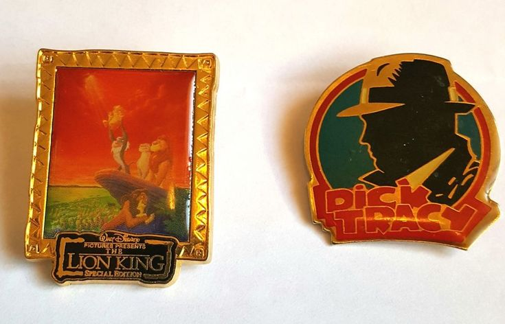 This auction is for two used Disney Pins. Lion King and Dick Tracy. Lion King is a retired pin that came out in 2003. It was a gift with purchase of Dvd. Dick Tracy Pin is retired. There is not a back for the Lion King Pin but they are both in a gently used condition. | eBay!
