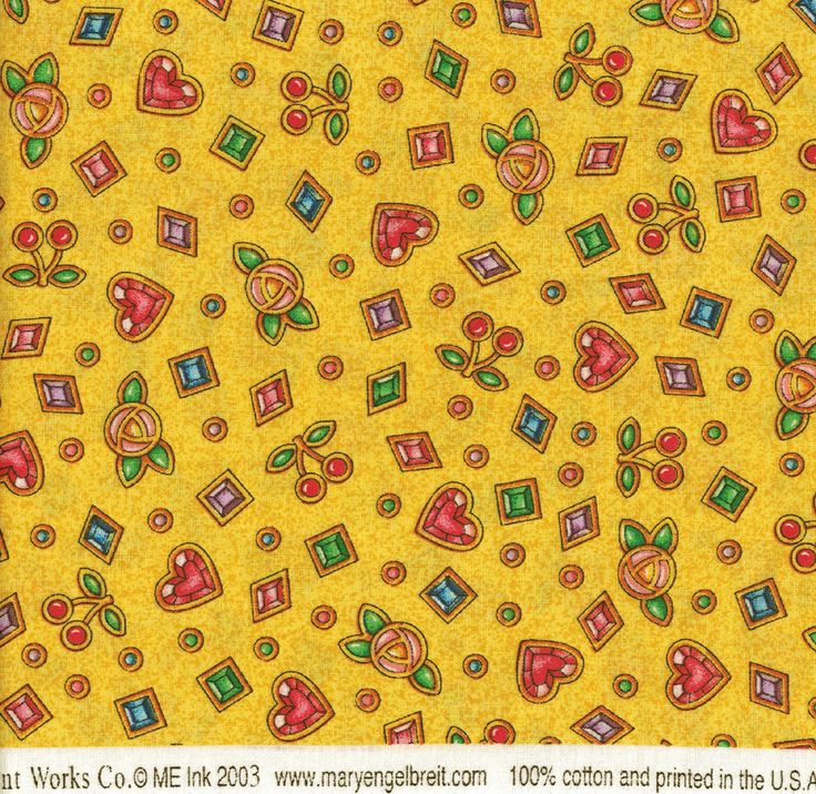 Mary Engelbreit Fabric, 1 Yard, Circa 2003 ,Yellow Background,Cherries and Hearts, Flowers and Jewels,Destash, Debbie Sews Retro by DebbieSewsRetro on Etsy