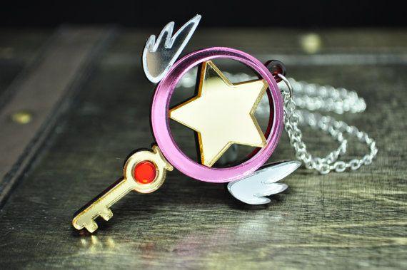 Cardcaptor Sakura Star Key Wand Cosplay Necklace by TrinketySlot, $21.00
