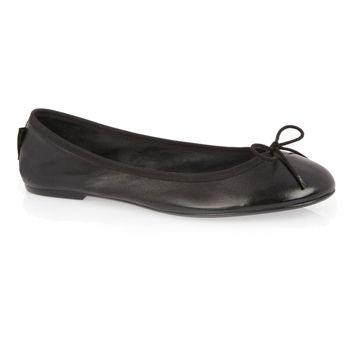 Classic Ballet Black Leather Ballerinas, Black trim