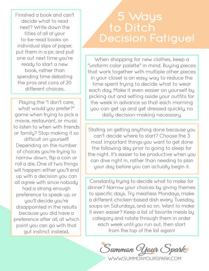 FREE printable - 5 Ways to Ditch Decision Fatigue. Plus, 5 things you can do right now for a more productive week, on the blog at Summon Your Spark!