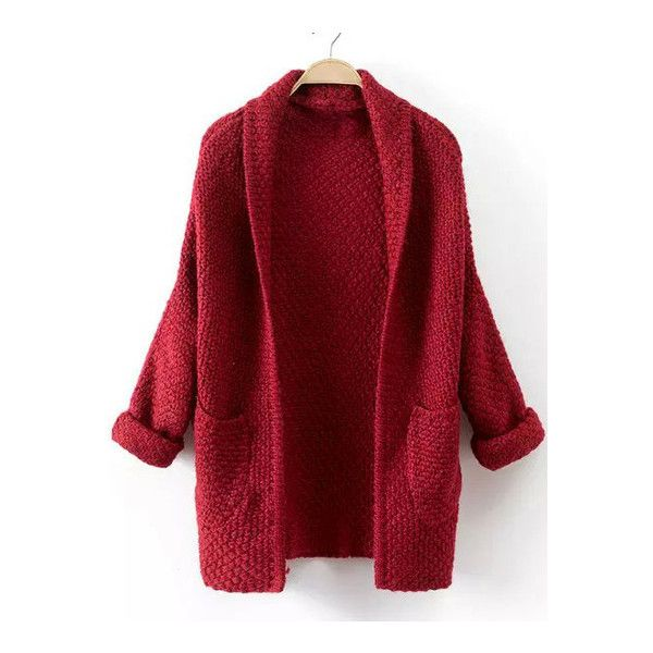 SheIn(sheinside) Red Long Sleeve Pockets Knit Cardigan (£15) ❤ liked on Polyvore featuring tops, cardigans, outerwear, jackets, red, red long sleeve top, knit cocoon cardigan, loose fitting tops, pocket cardigan and embellished cardigan