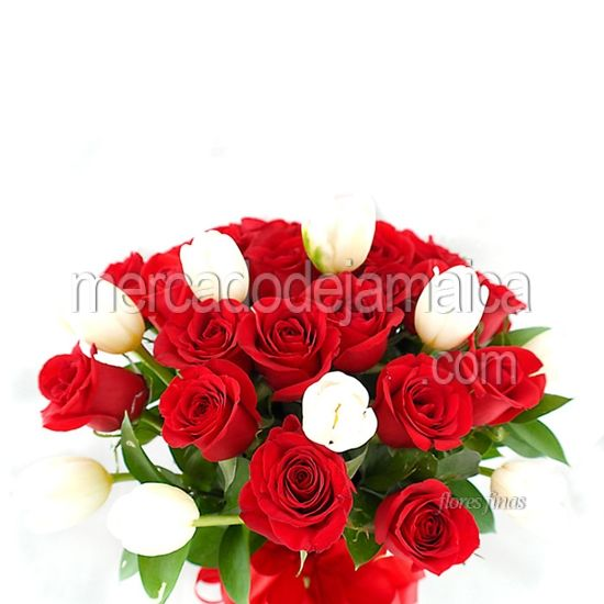 Florerias Mexico Tulipanes Blancos y Rosas Red Tommy !| Envia Flores