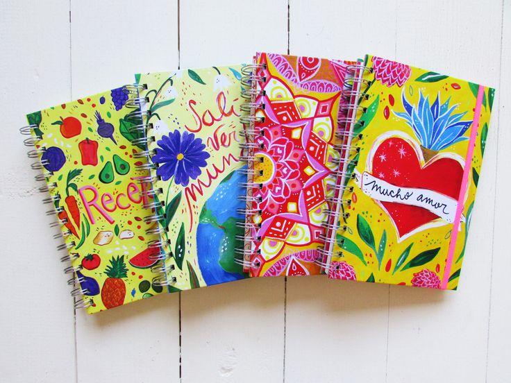 Cuadernos ecológicos de diseño.  Diarios de viaje, recetarios. Hecho con papel reciclado.