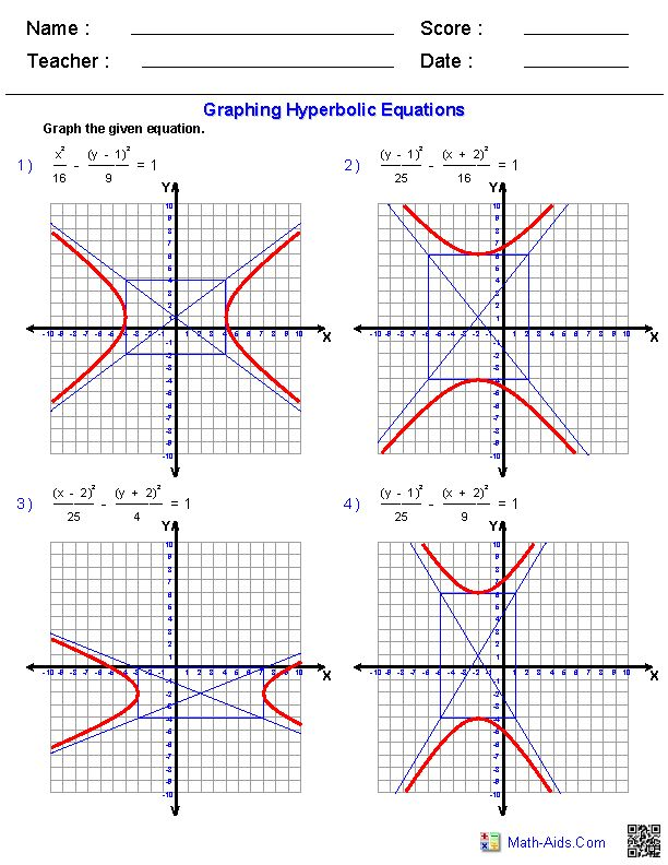 graphing equations of hyperbolas worksheets math aids com pinterest. Black Bedroom Furniture Sets. Home Design Ideas