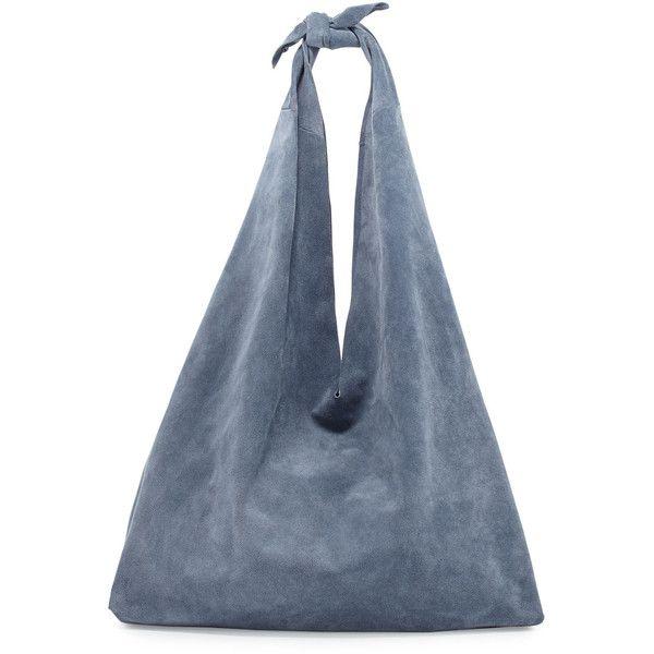 THE ROW Bindle Knot Suede Hobo Bag found on Polyvore featuring bags, handbags, shoulder bags, topaz blue pld, hobo handbags, blue purse, hobo purses, the row purse and suede handbags