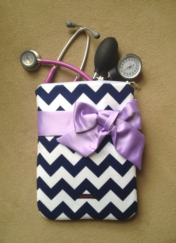 NURSING PURSE / AnyCase with BOW - nurse organizer stethoscope case in navy and white chevron with lavender bow (nurses, teachers, travel)