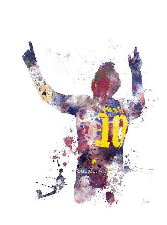 Ilustración de la impresión del arte de Lionel Messi, Barcelona, fútbol, deporte, arte de la pared, decoración del hogar