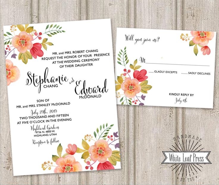 Printable Wedding Invitations Watercolor Pink and Blush Spring Flowers by WhiteLeafPressDesign on Etsy