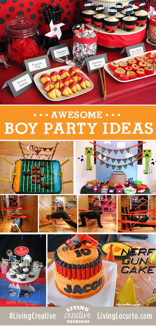 Party ideas for boys! Cake, free party printables, games and fun food ideas for Ninja, Minecraft, Spy, Football, Police and Nerf party themes.