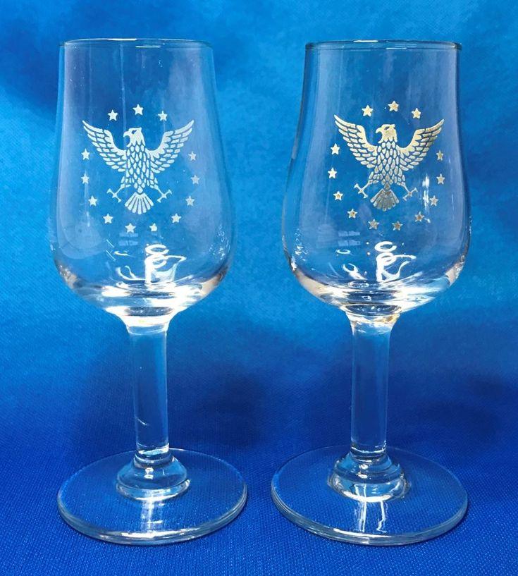 Pan Am President Cordial Liquor Glass Set of 2 First Class 1960s Mid-Century EUC