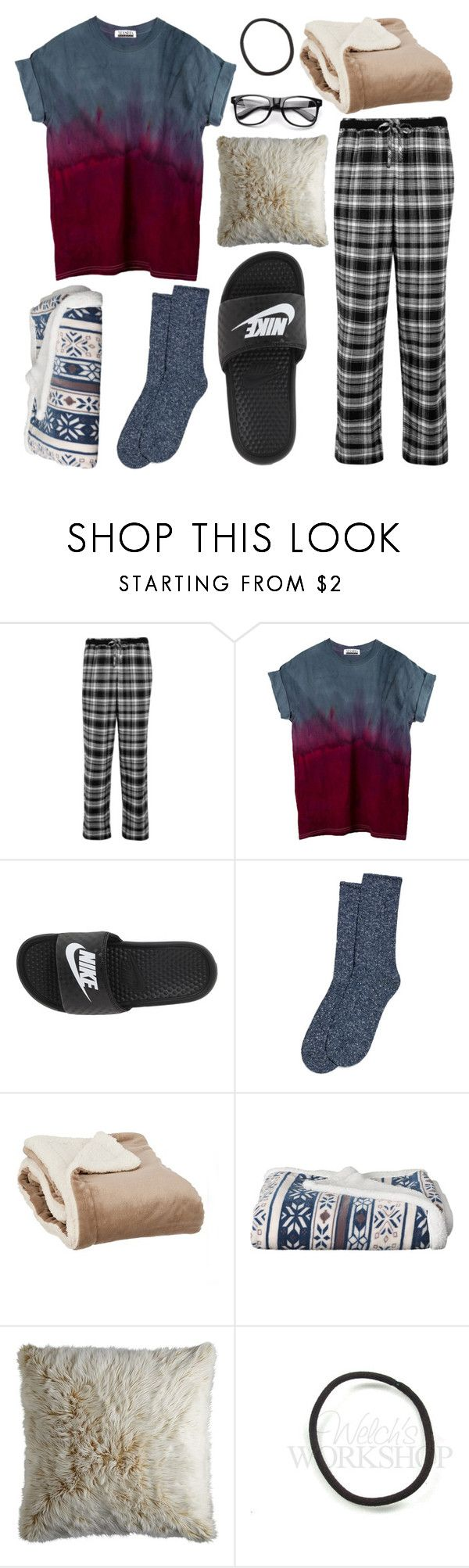 """Nighty Night"" by kiersten157 ❤ liked on Polyvore featuring DKNY, NIKE, Hue and Pier 1 Imports"